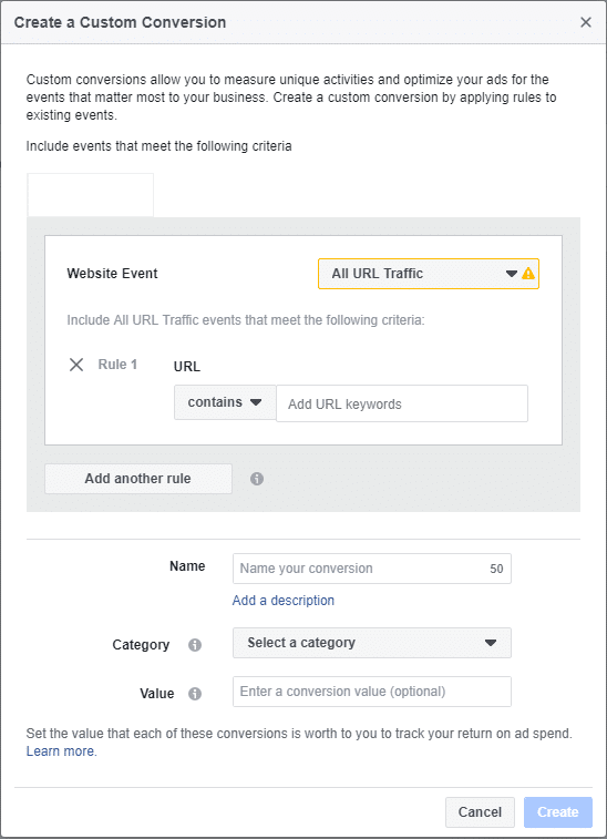 Create Custom Conversion Facebook