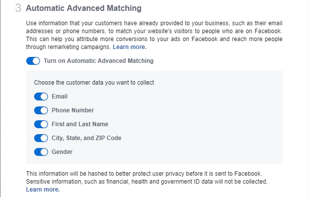 Facebook CRM Advanced Matching