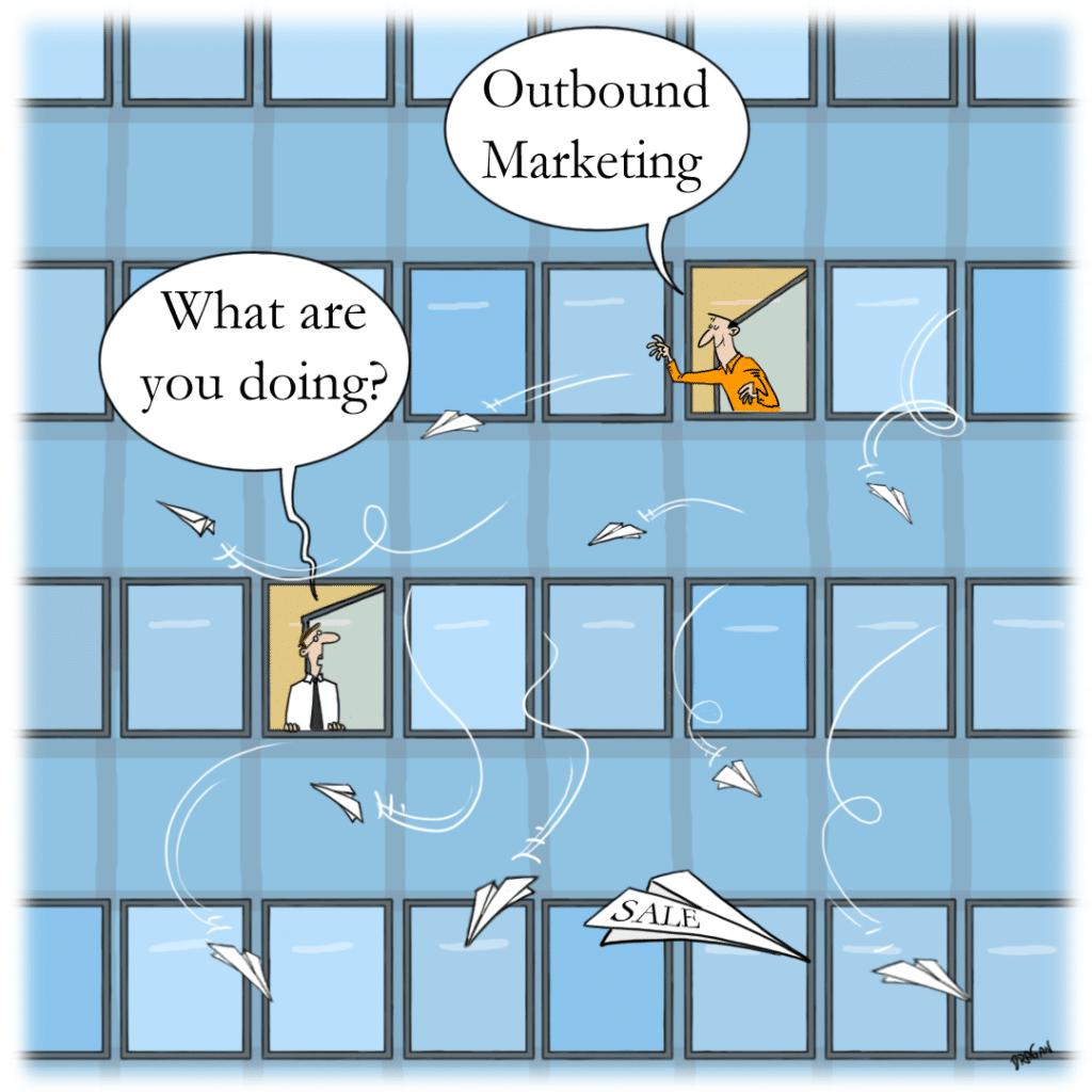 outbound marketing cartoon
